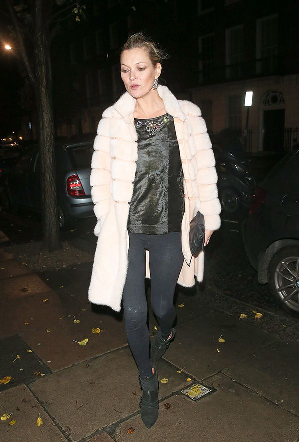 Furry Coat + Leggings + Cami + Heels