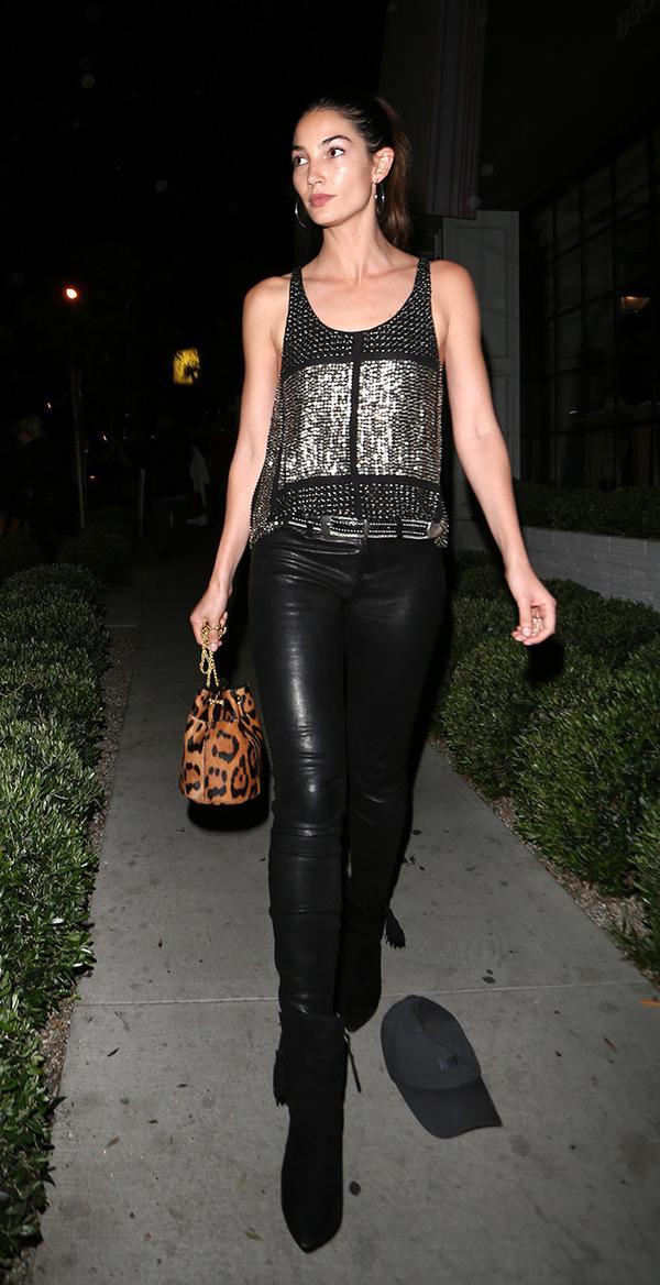 Metallic Top + Leggings + Heels + Leopard Bag