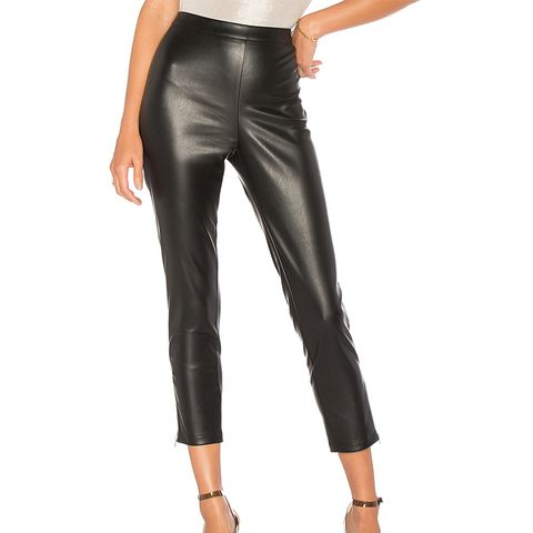 Nelly Side-Zip Faux-Leather Pants