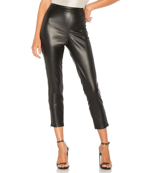 Nelly Side Zip Faux Leather Pant in Black. - size M (also in S,XXS, XS,L,XL)