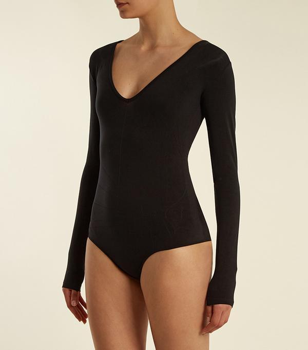Deep V-neck compression performance bodysuit