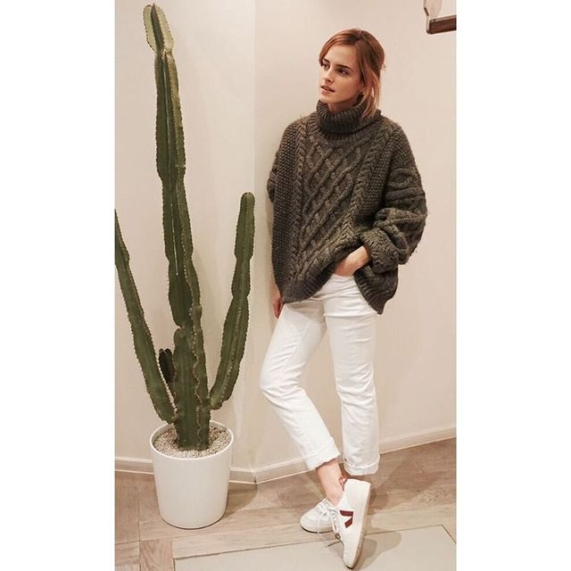 On Emma Watson: Zady sweater; Veja V-10 Sneakers ($111).