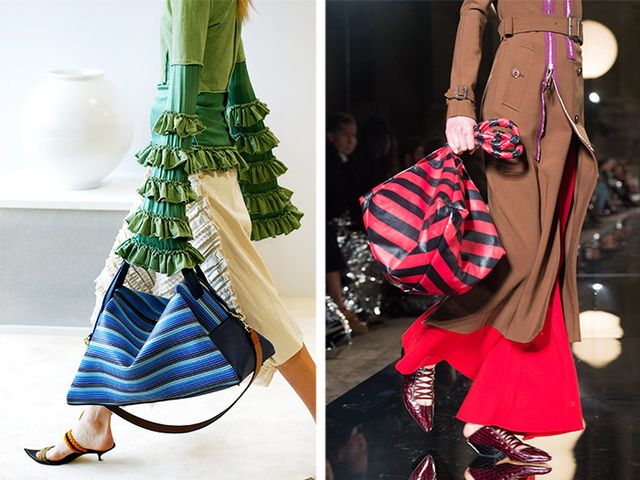 Style Notes: Loewe and Givenchy by Riccardo Tisci were certainly in on the tremendous tote memo—also, is there a microtrend for striped arm candy in here?