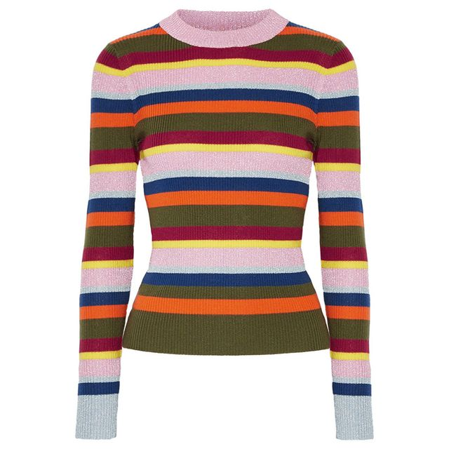 House of Holland Striped Metallic Merino Wool-Blend Sweater