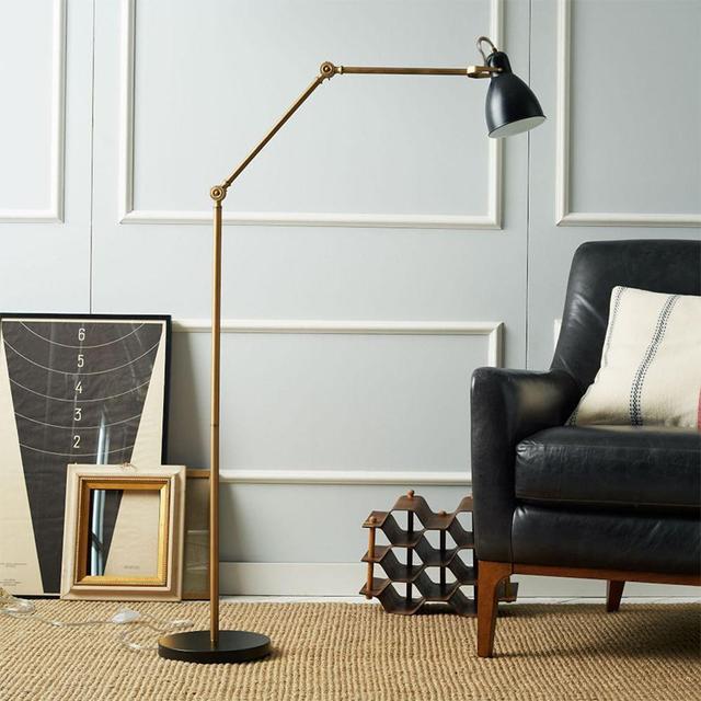 West Elm Industrial Task Floor Lamp - Black + Brass