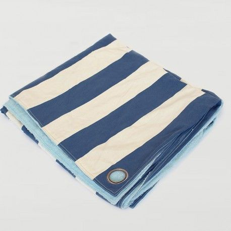 Striped Utility Blanket in Pacific Blue
