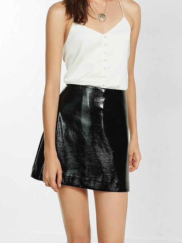 Mango Black Crackle Patent A-Line Skirt