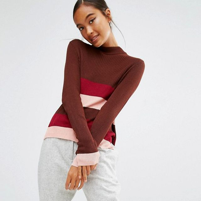 First & I Stripe Colour Block Knitted Top