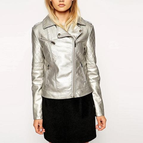 Biker Jacket in Metallic Leather Look