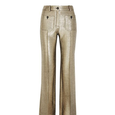 Wool-Bline Lamé Flared Pants