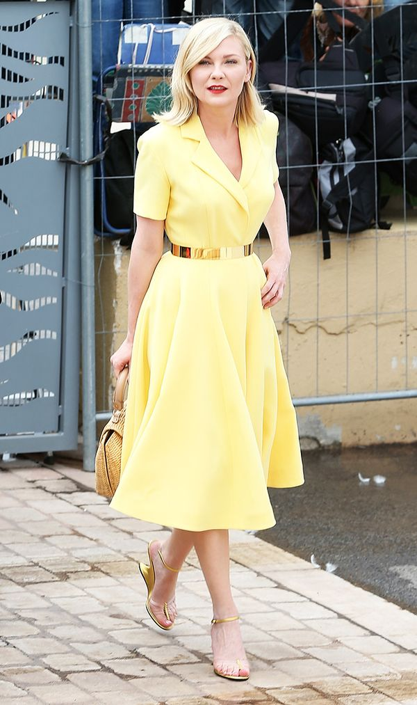 Kirsten Dunst wearing yellow dress cannes.