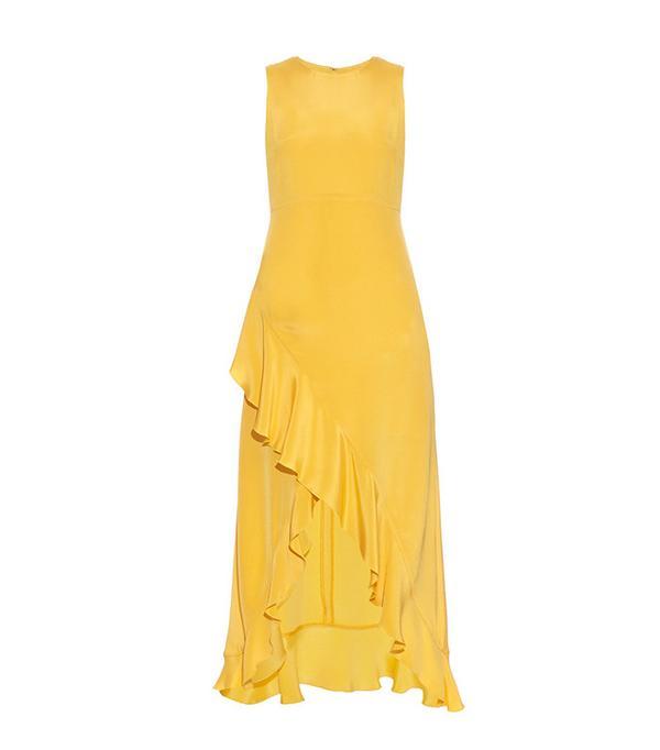 Raey Ruffled Silk Midi Dress
