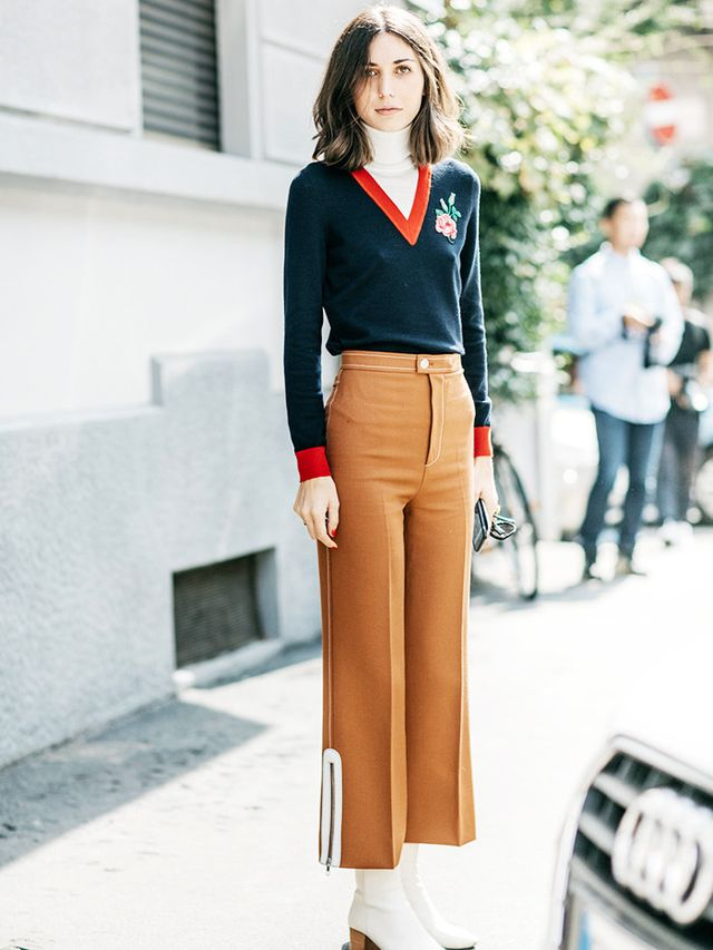 Style Notes: Diletta's retro look from Guccireminds us of a classic golfing look—with oodles of extra pizazz.Note to self: Buy a white polo-neck. On Diletta Bonaiuti: Gucci...