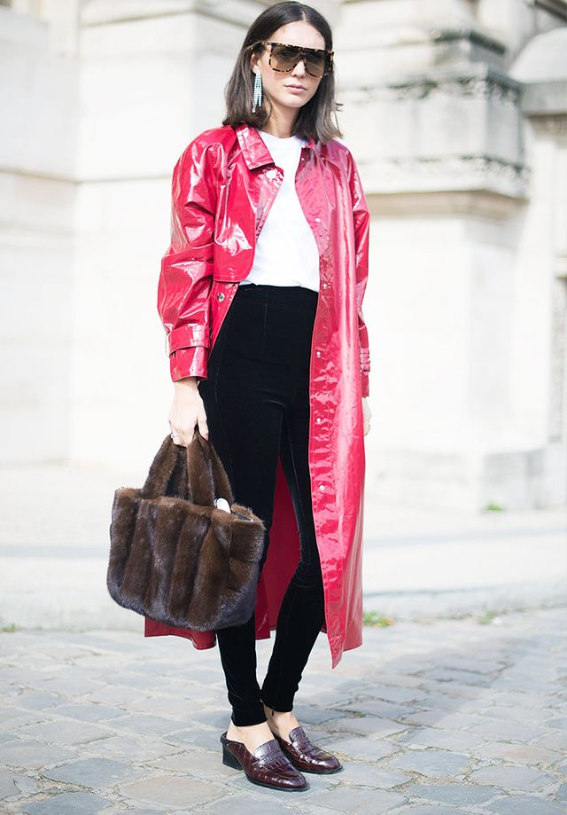 Style Notes: This is a textural dreamscape—patent, fur, velvet, croc, diamanté…Block colours pull it all together. On Diletta Bonaiuti: Isabel Marant Trench...