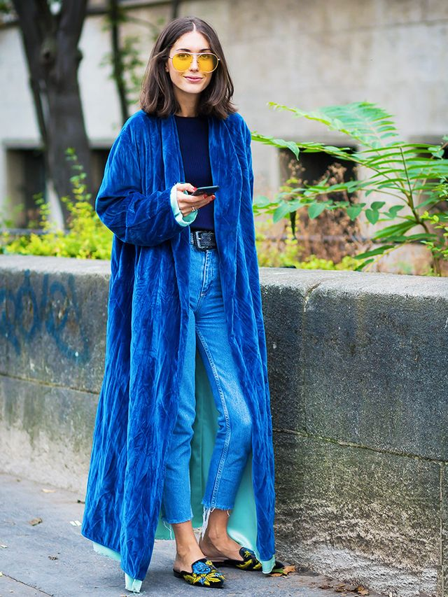 Style Notes: Bringing the boudoir onto the streets, Diletta smartens up the idea of a velvet robe and slippers (those Alberta Ferretti ones that keep selling out) by pairing with denim, a plain...
