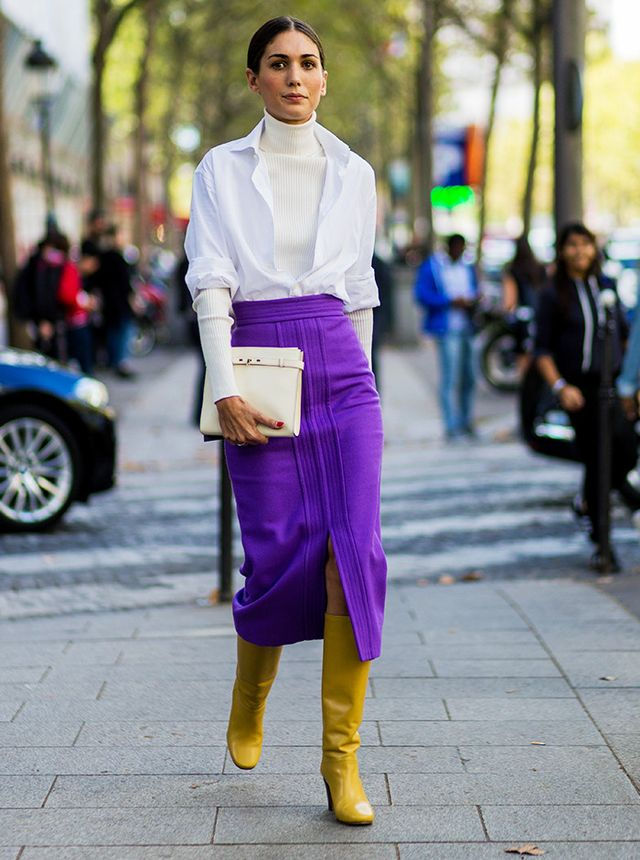 Style Notes: Meet your new autumnal workwear look. The longline skirt works perfectly with knee-high boots, and we adore the idea of wearing an open shirt over a thin roll-neck. Genius.