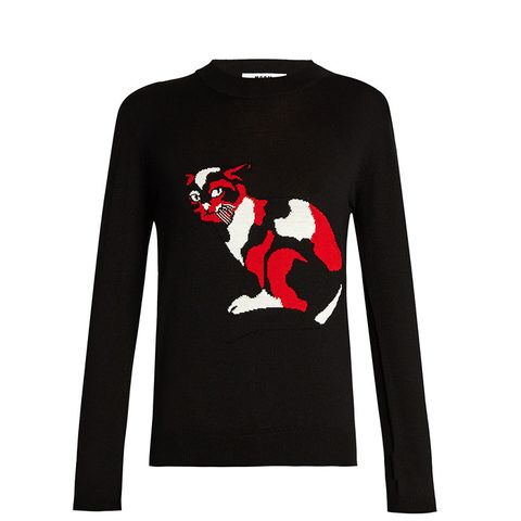Cat Embroidered Wool Sweater