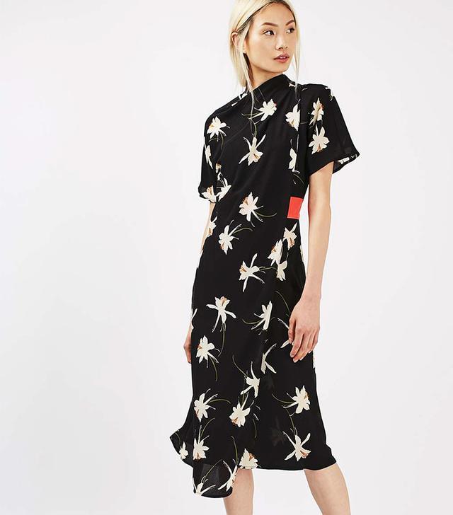 Topshop Orchid High-Neck Drape Dress