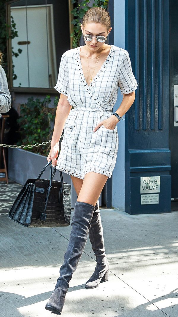 Gigi Hadid Check Wrap-Around Dress and Over-the-Knee Boots