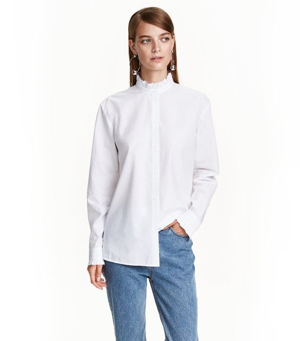 H&M Shirt with Ruffled Collar