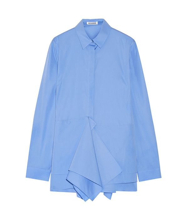 Jil Sander Ruffled Cotton-Poplin Shirt