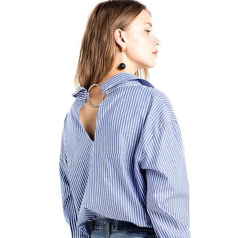 Nami Ring Back Striped Sleve Tie Shirt
