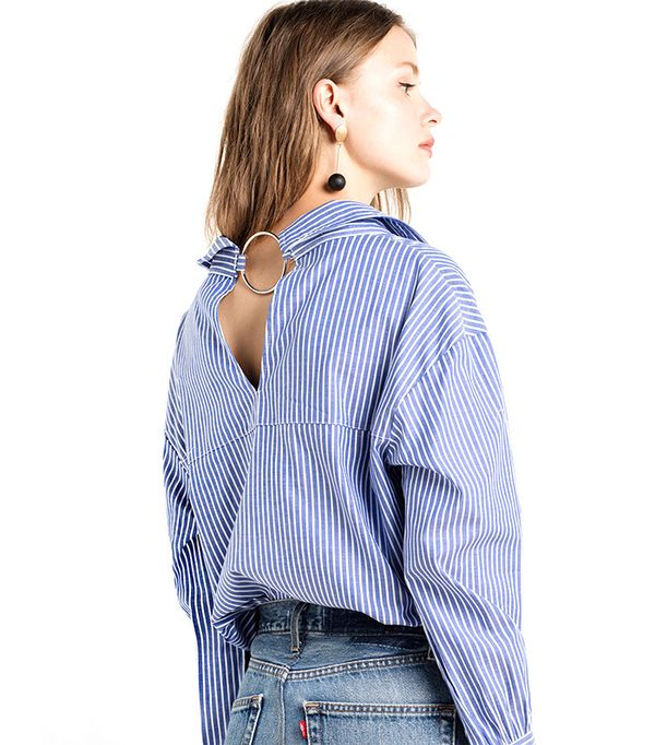 Pixie Market Nami Ring Back Striped Sleve Tie Shirt