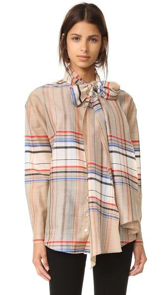 Suno Plaid Tie Neck Shirt