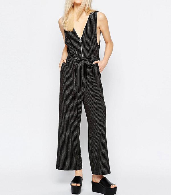 Monki Pinstripe Zip Up Tie Waist Jumpsuit