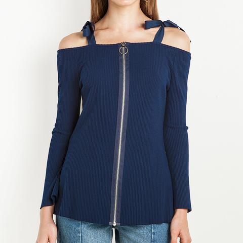 Beverly Off the Shoulder the Shoulder Zip Top