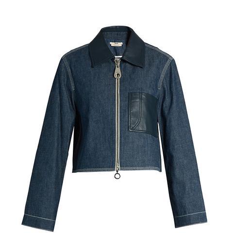 Point-Collar Patch-Pocket Denim Jacket