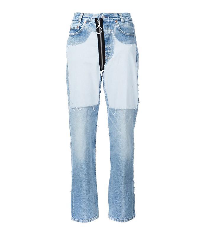 Off-White Contrast Panel Boyfriend Jeans