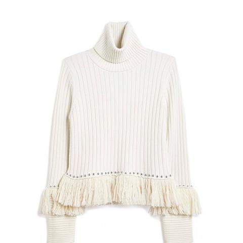 Stud Fringe Sweater