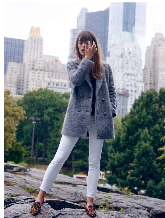 Madewell et Sézane Octave Blazer Coat ($268) and High-Rise Skinny Jeans in White ($135)