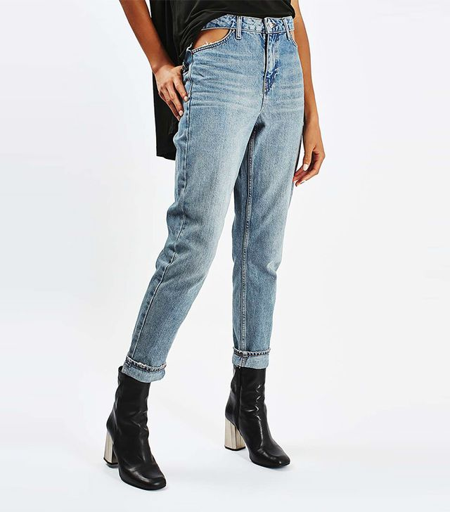 Topshop Moto Cut Out Pocket Mom Jeans