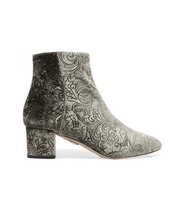 Aquazzura Baroque Embossed Velvet Ankle Boots