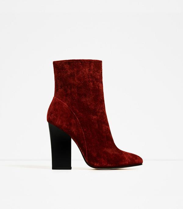 Zara Velvet High Heel Ankle Boots
