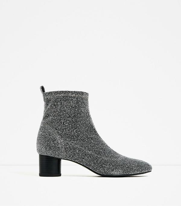 Zara Shiny Sock Ankle Boots