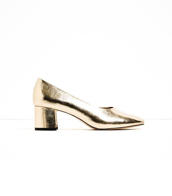 Zara Mid Heel Laminated Shoes