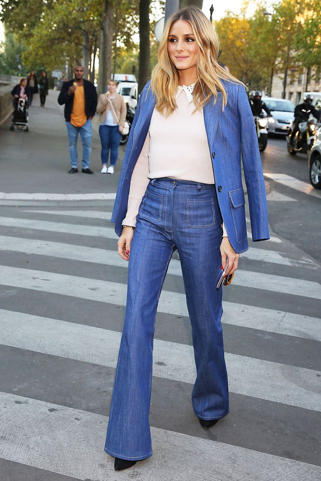 On Olivia Palermo: Paul & Joe Eobrother Denim Blazer ($470) and Erania High-Waisted Jeans ($261).