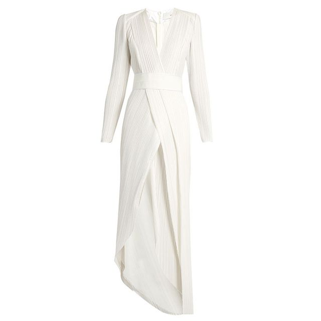 Galvan V-Neck Pleated Gown