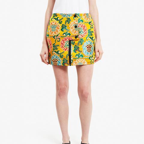 Lotus Brocade Mini-Skirt