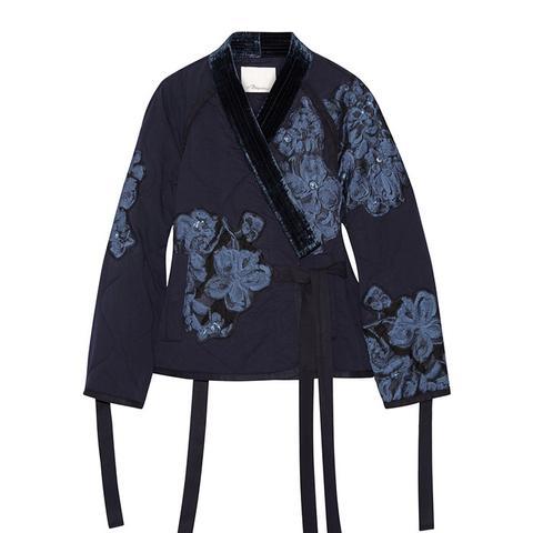 Floral-Appliquéd Velvet-Trimmed Cotton Jacket