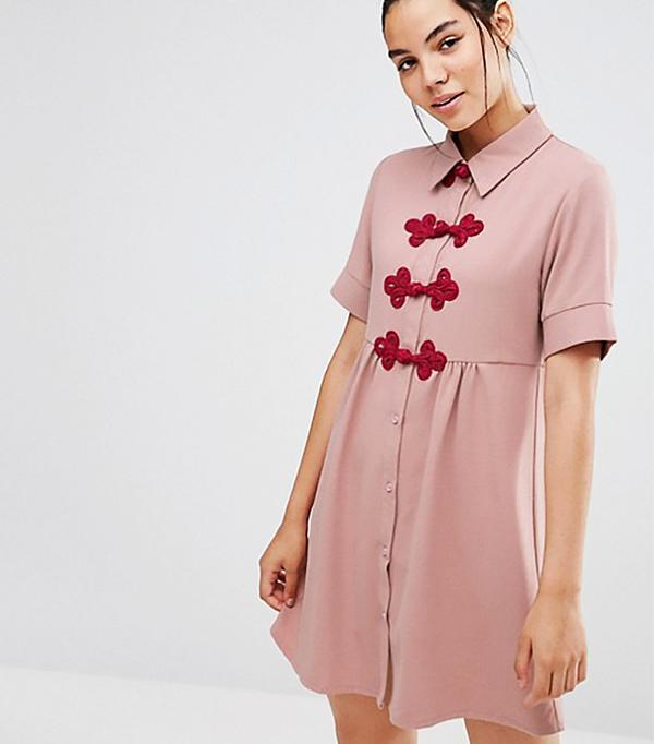 Sister Jane Short Sleeve Shirt Dress with Crochet Fastenings