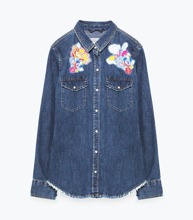 Zara Embroidered Denim Shirt