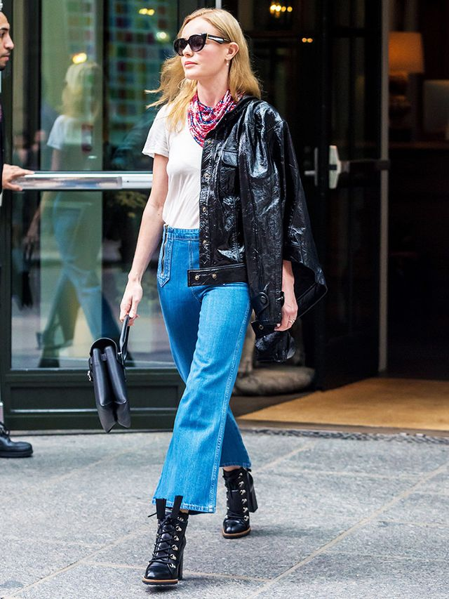 On Kate Bosworth: Frame Shiny Leather Crop Jacket (£839); M.i.h. Arrow Flared Crop Jeans (£245); Alexander Wang Attica Bag (£740); Tod's Lace-Up Ankle...