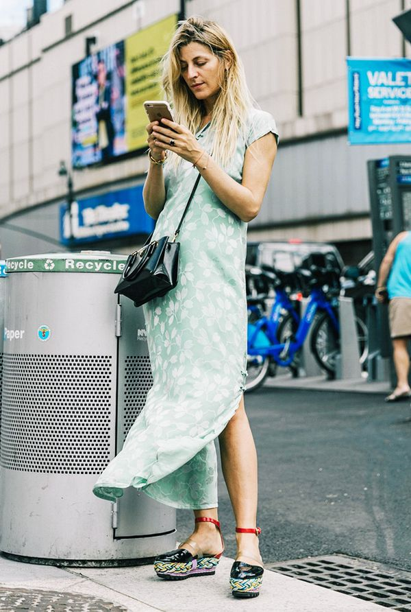chinese-inspired silk dress street style