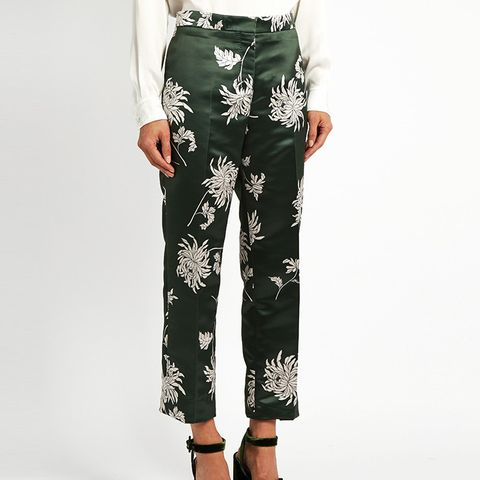 Dahlia-Print Straight-Leg Duchess-Satin Trousers
