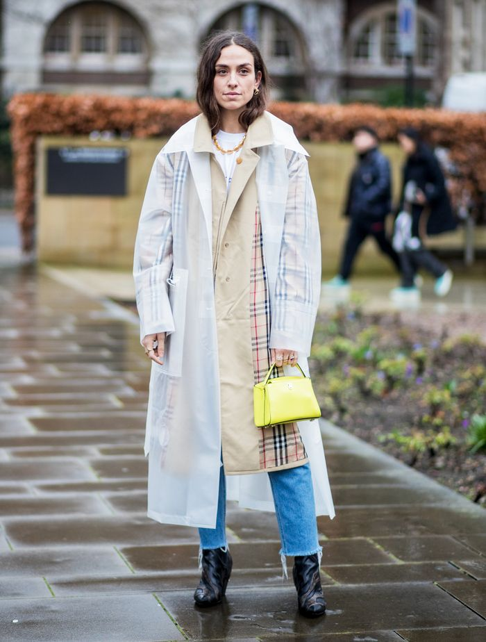 Rainy Day Outfits: Layer a transparent raincoat over your look
