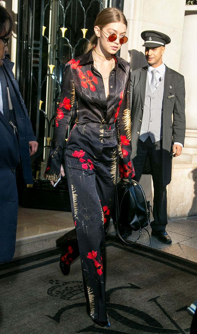 Gigi Hadid wearing floral top and pants
